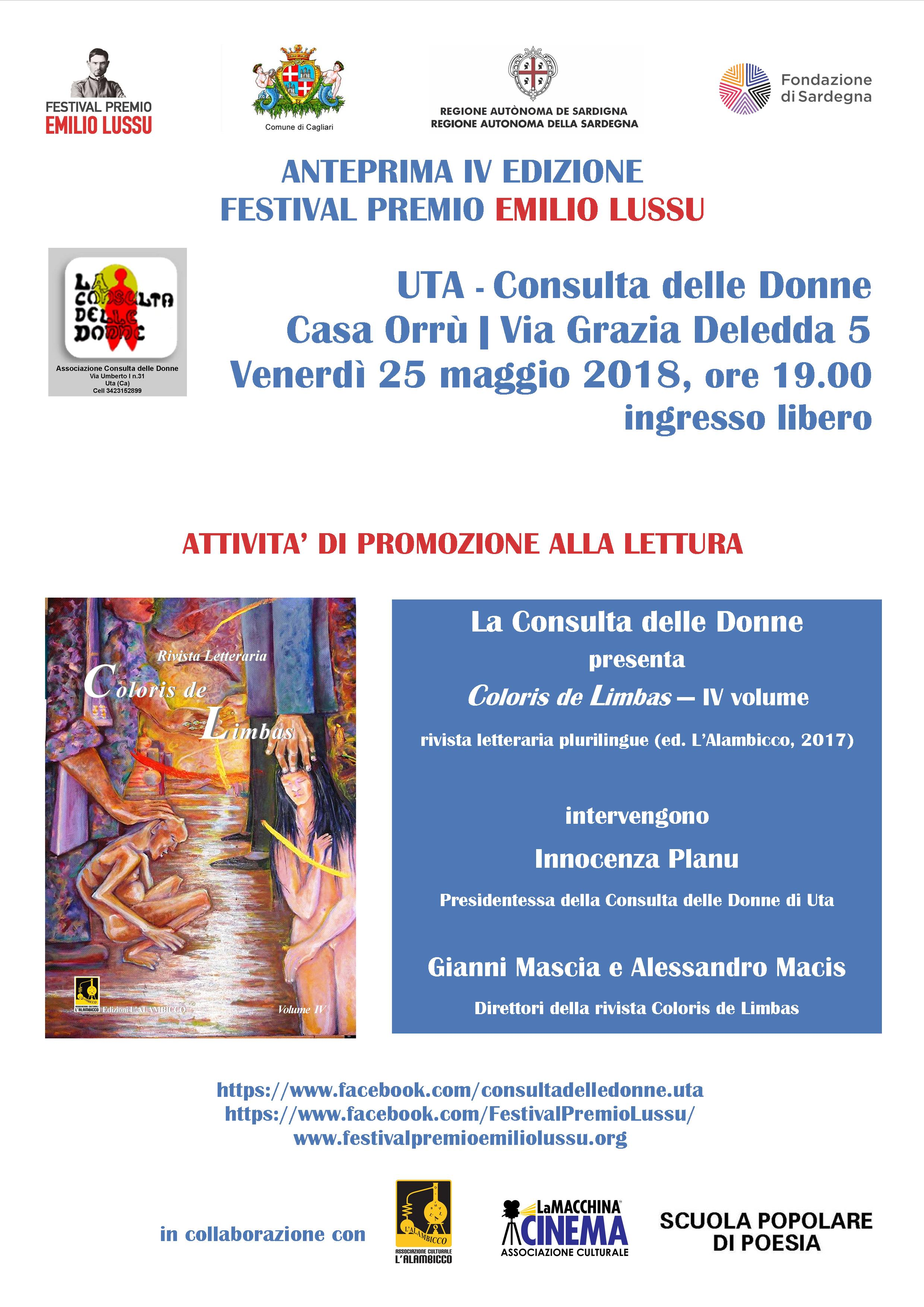 Anteprima IV Edizione Festival Premio Emilio Lussu A Uta (Ca) Con Coloris De Limbas