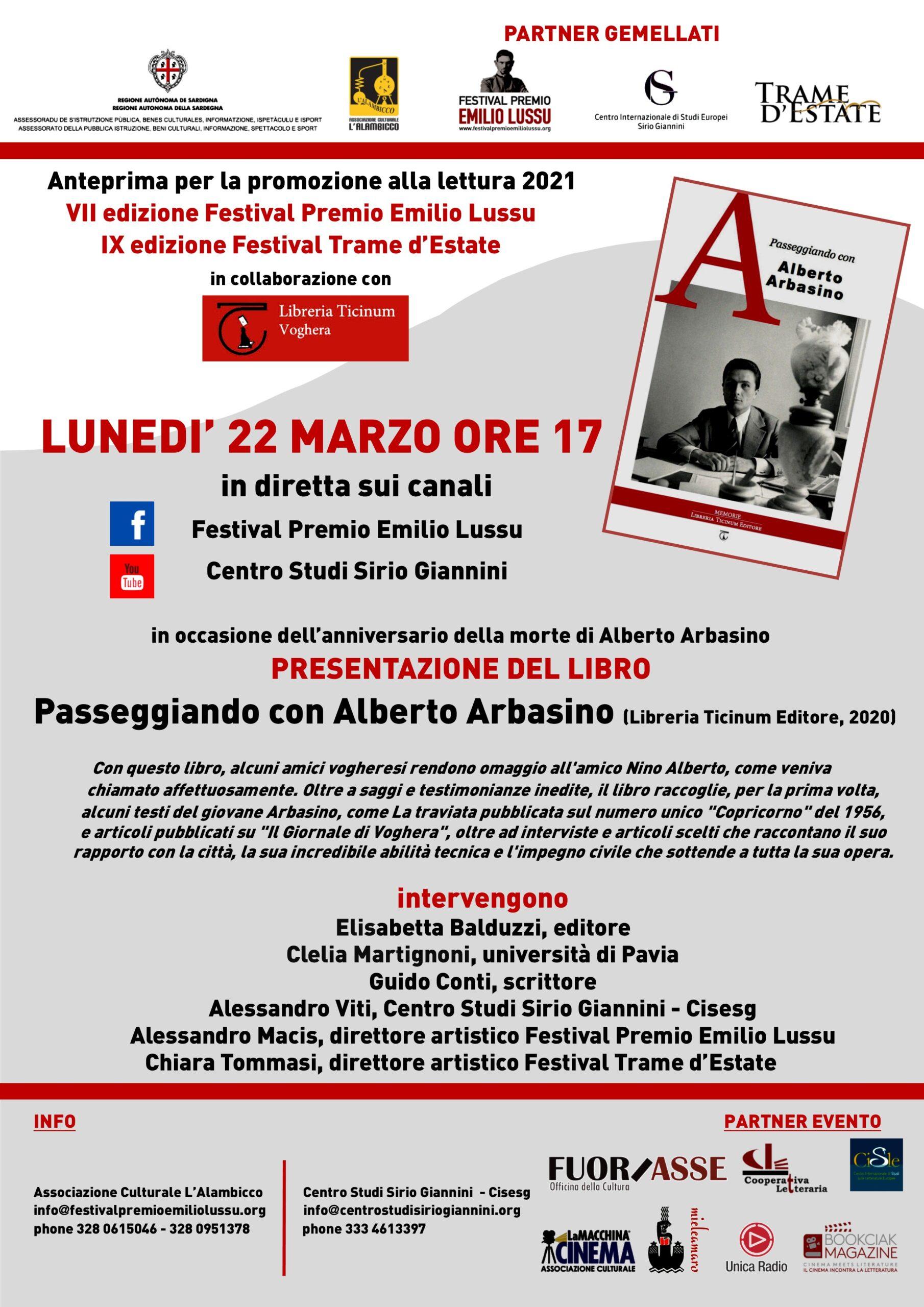 """Presentazione Del Libro """"Passeggiando Con Alberto Arbasino"""""""